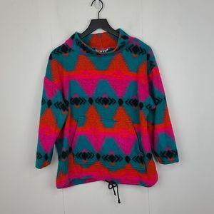 Vintage Bright Vibrant Southwestern Aztec Fuzzy Pullover Size Medium